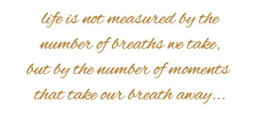 Life is not measured by the number of breaths we take but by by the number of moments that take our breath away